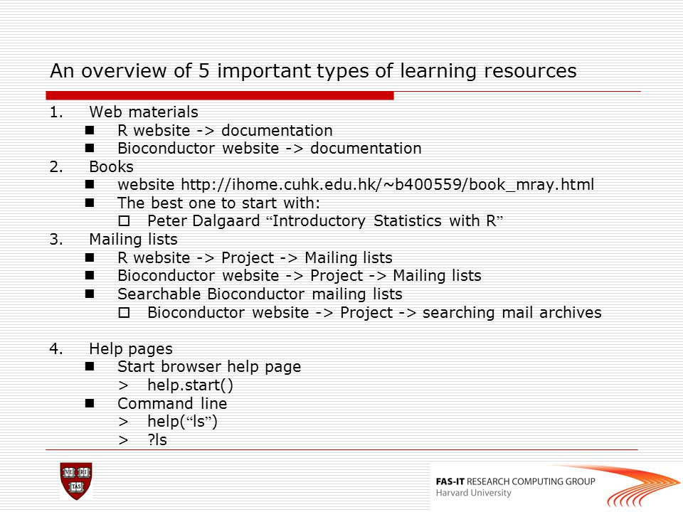 An overview of 5 important types of learning resources