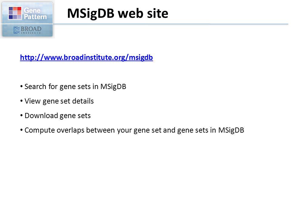 MSigDB web site http://www.broadinstitute.org/msigdb