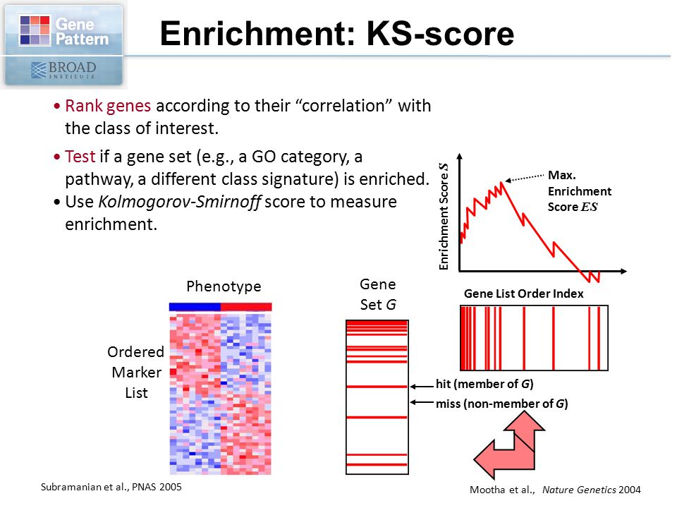 Enrichment: KS-score Rank genes according to their correlation with the class of interest.