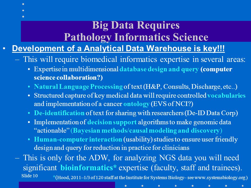 Big Data Requires Pathology Informatics Science