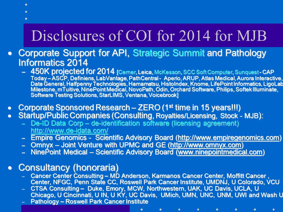 Disclosures of COI for 2014 for MJB