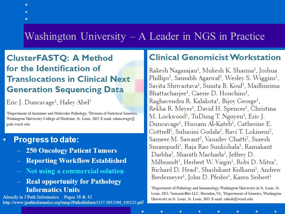 Washington University – A Leader in NGS in Practice