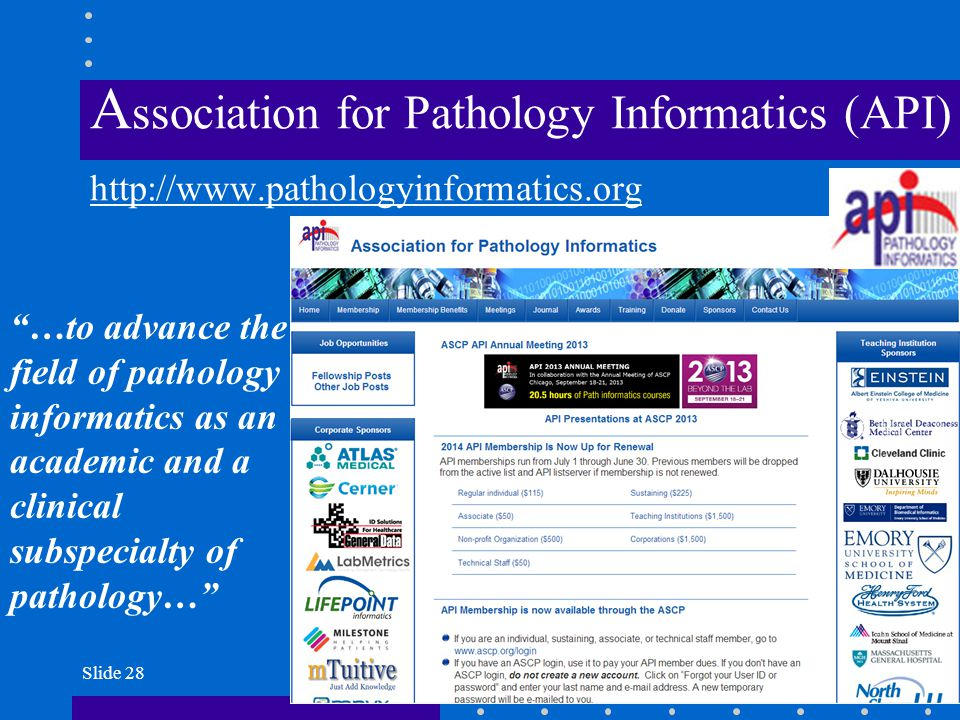 Association for Pathology Informatics (API) http://www