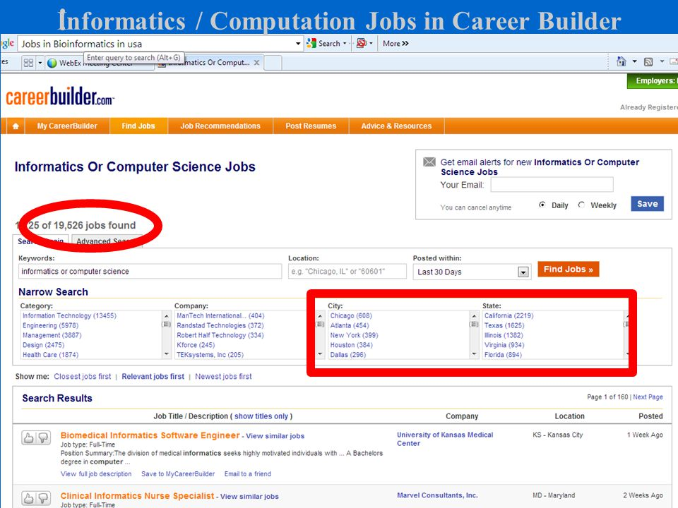 Informatics / Computation Jobs in Career Builder