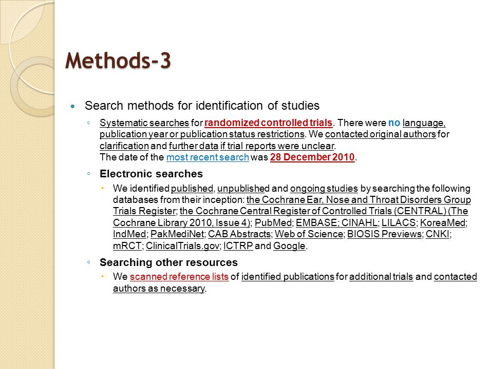 Methods-3 Search methods for identification of studies