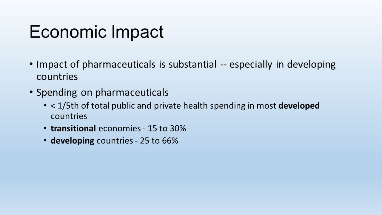 Economic Impact Impact of pharmaceuticals is substantial -- especially in developing countries. Spending on pharmaceuticals.