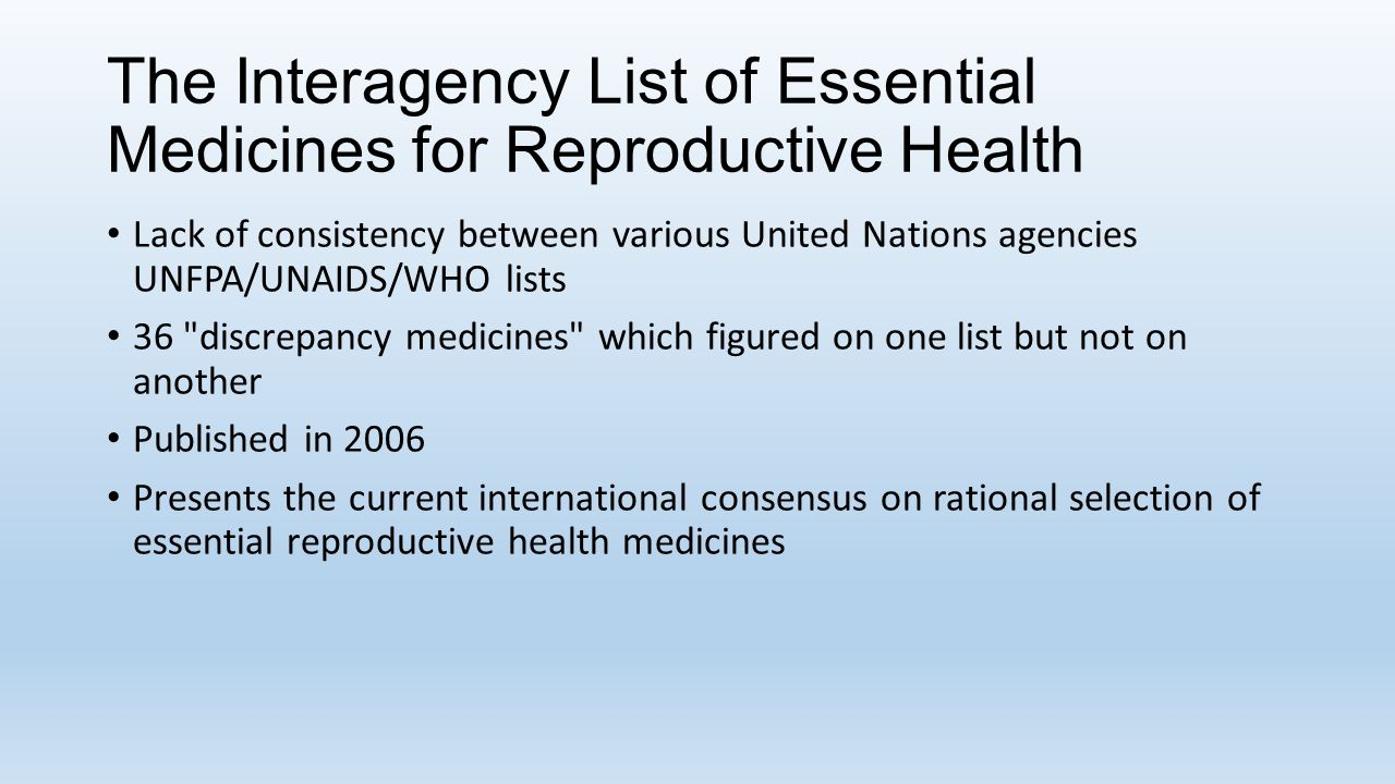 The Interagency List of Essential Medicines for Reproductive Health