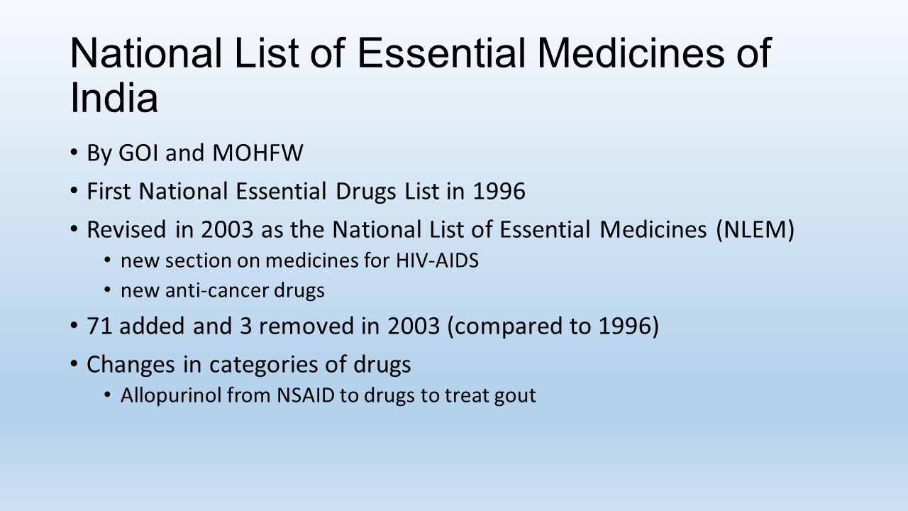 National List of Essential Medicines of India