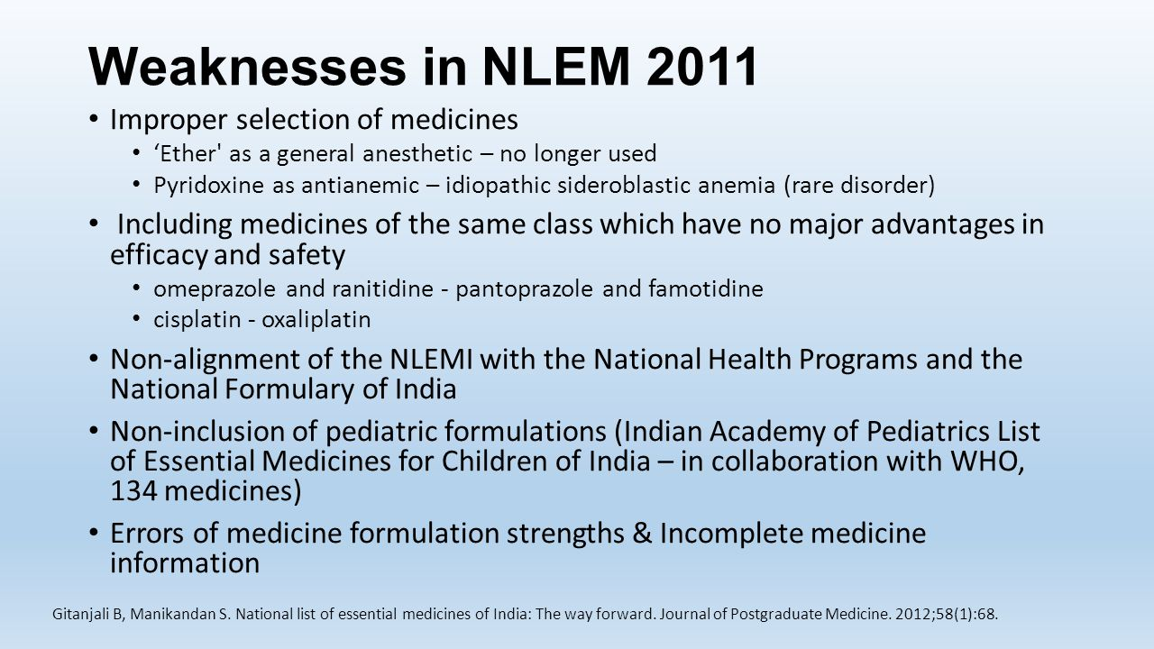 Weaknesses in NLEM 2011 Improper selection of medicines