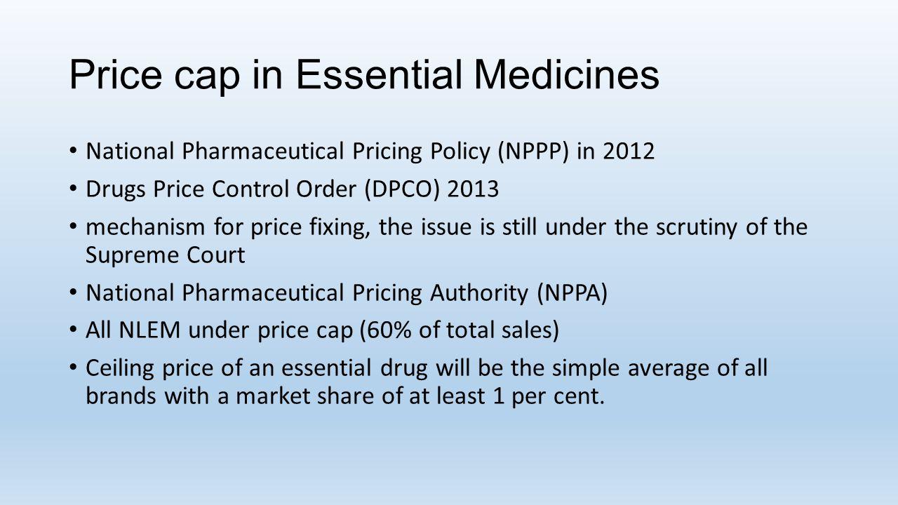 Price cap in Essential Medicines