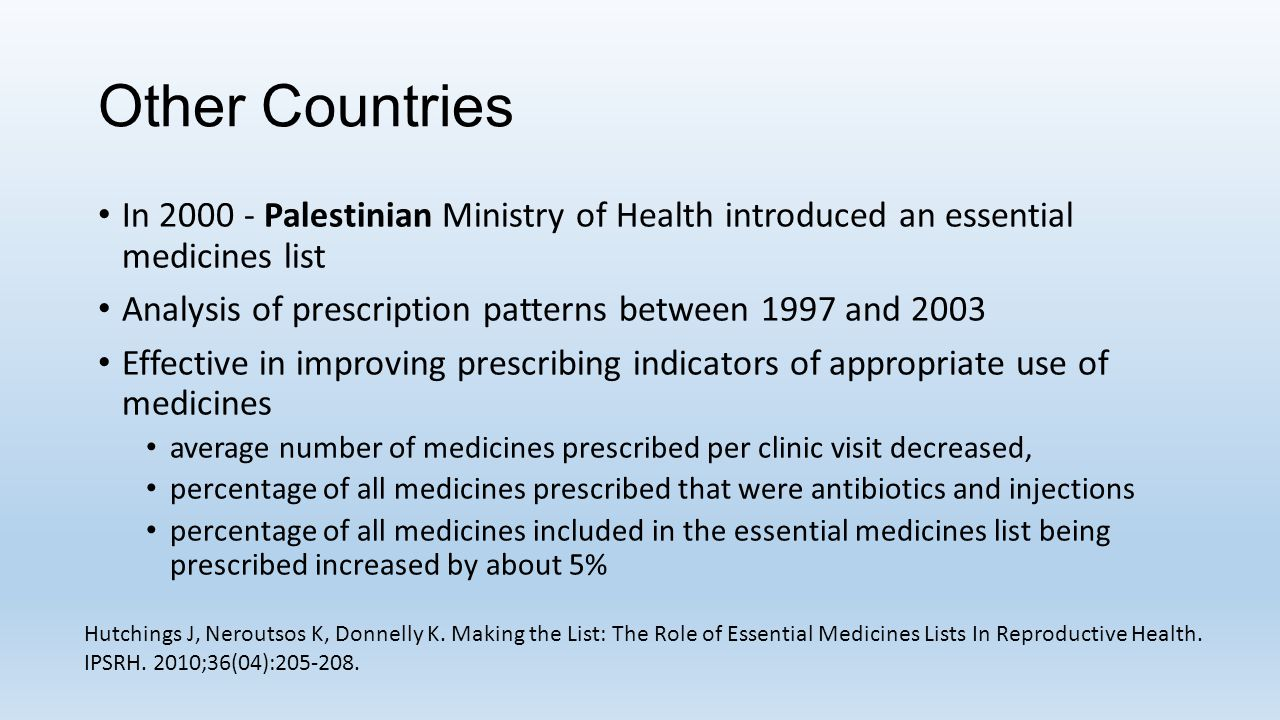 Other Countries In 2000 - Palestinian Ministry of Health introduced an essential medicines list.