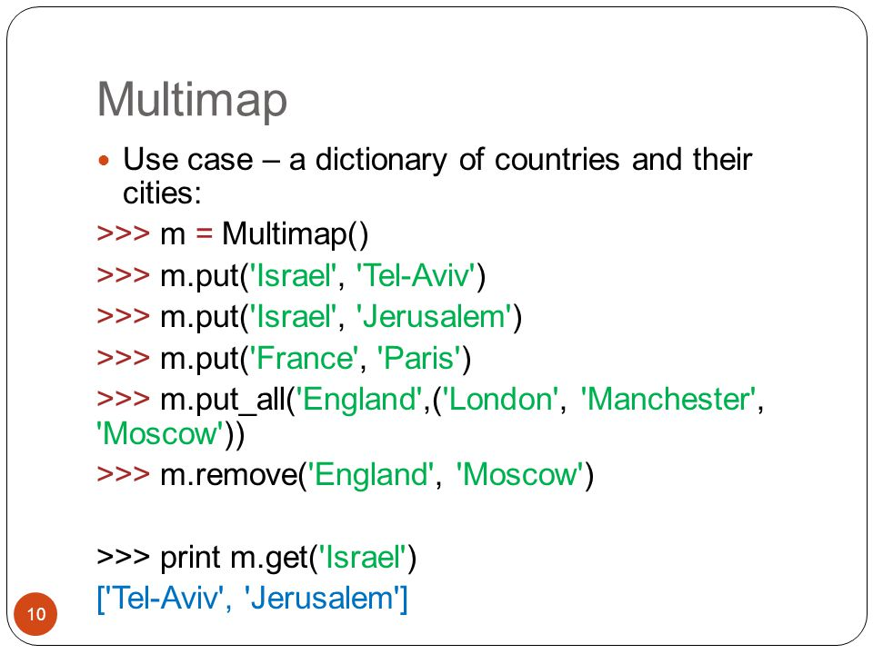 Multimap Use case – a dictionary of countries and their cities: