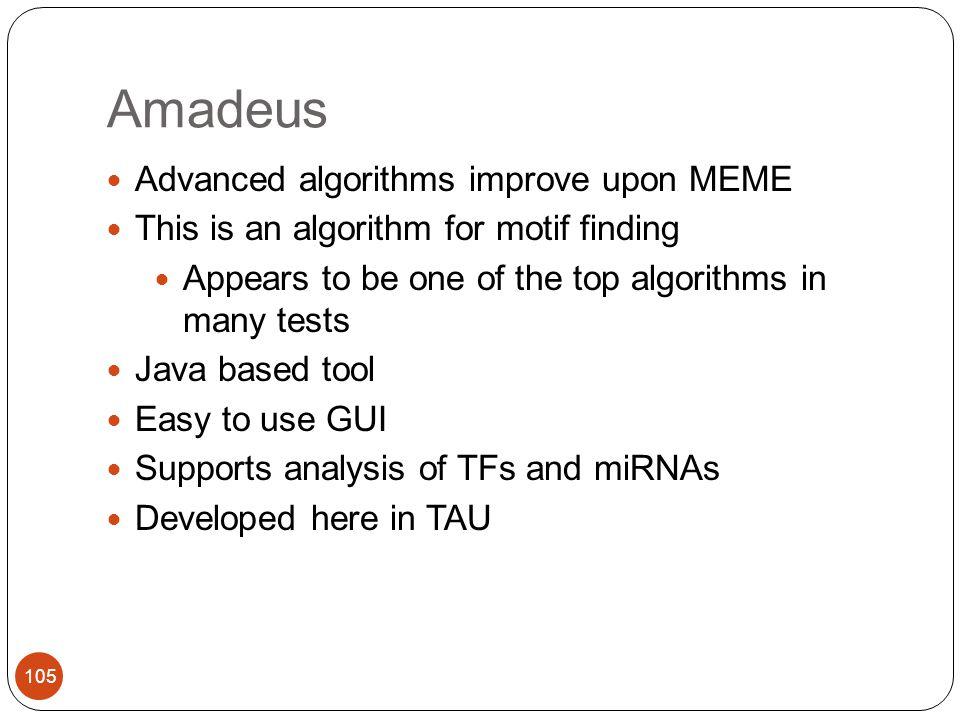 Amadeus Advanced algorithms improve upon MEME