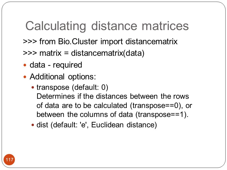 Calculating distance matrices