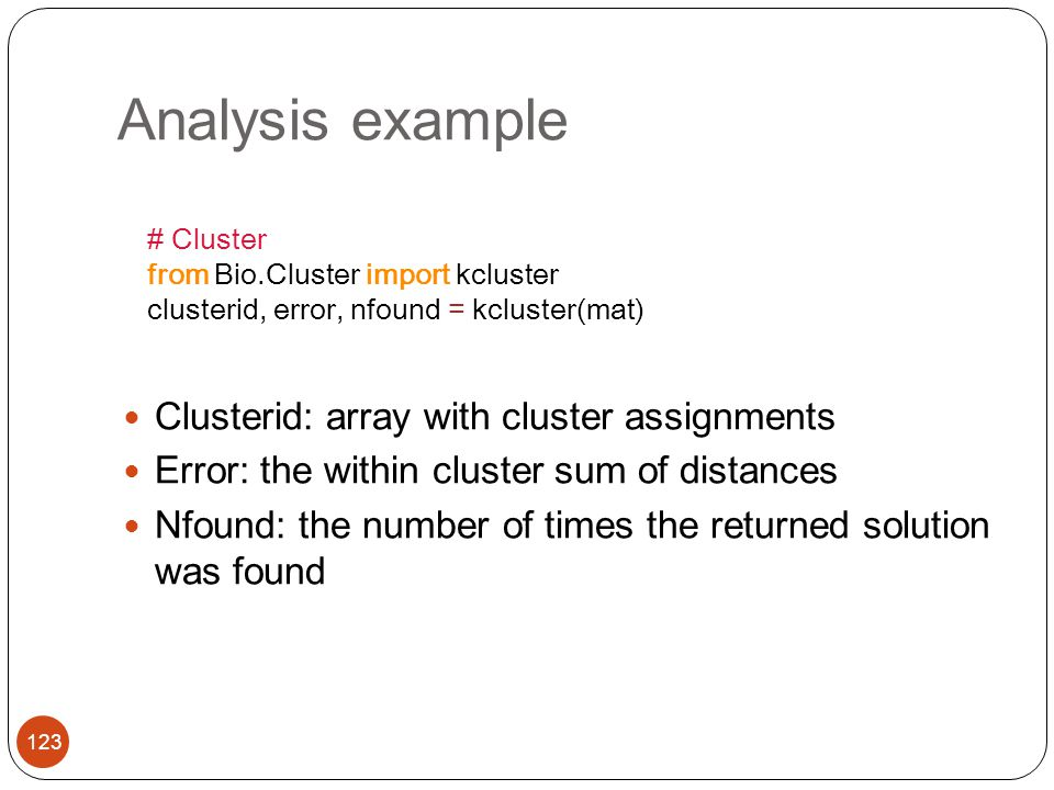 Analysis example Clusterid: array with cluster assignments