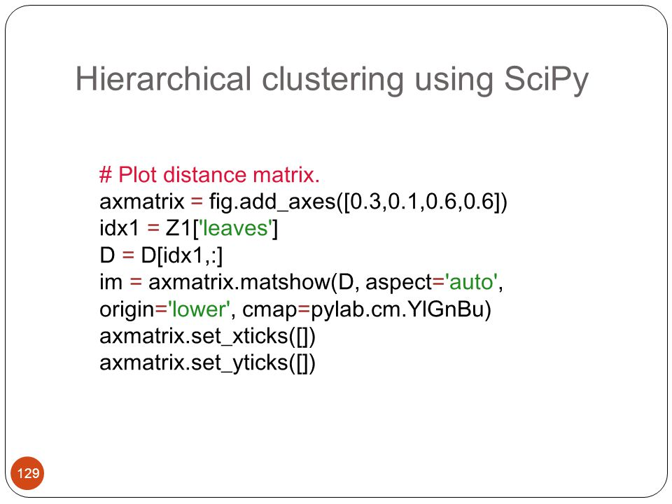 Hierarchical clustering using SciPy