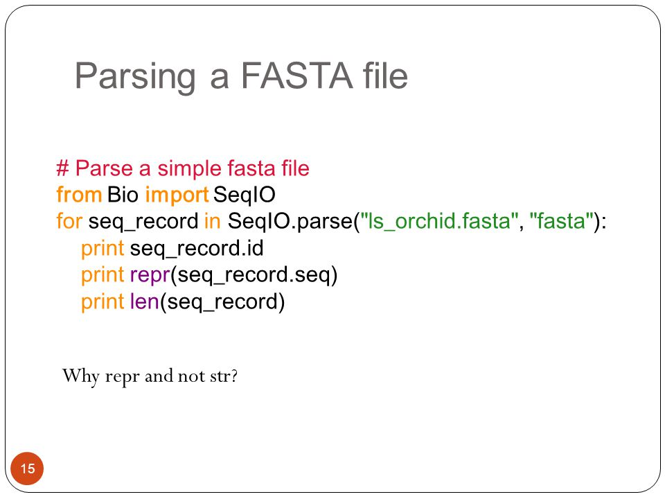 Parsing a FASTA file