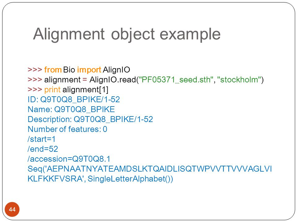 Alignment object example