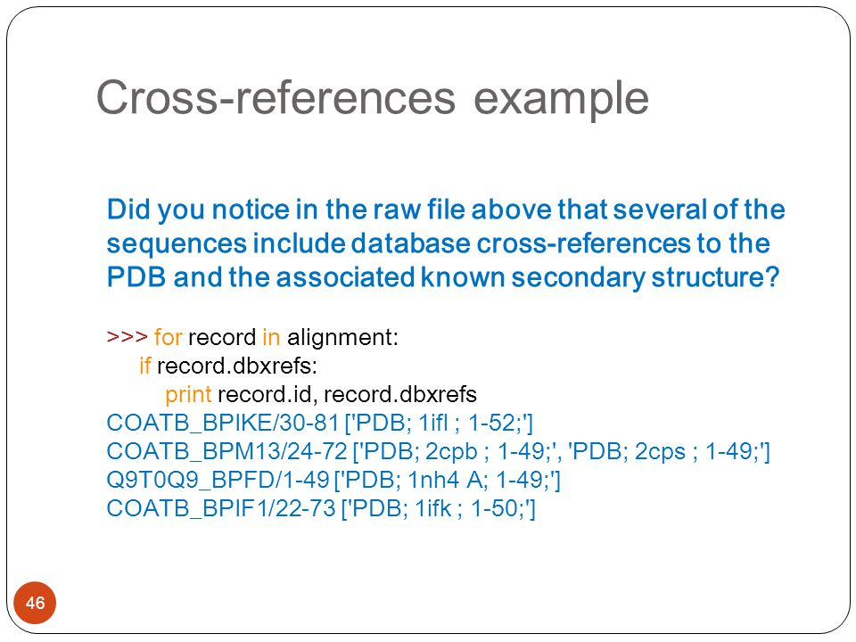 Cross-references example