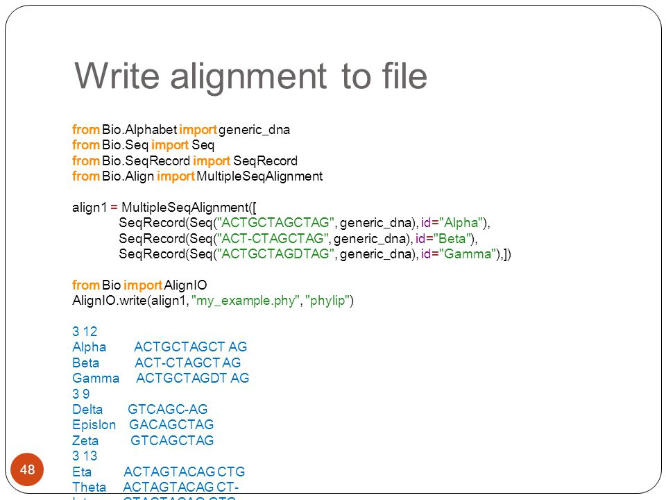 Write alignment to file