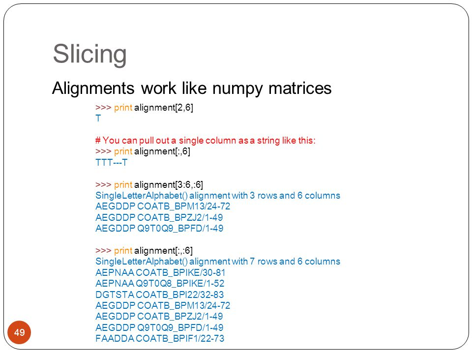 Slicing Alignments work like numpy matrices