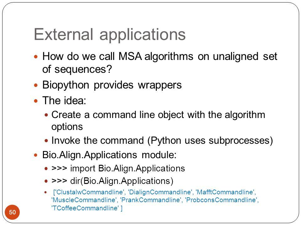 External applications