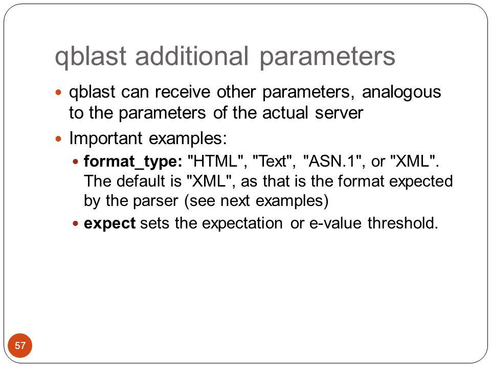 qblast additional parameters