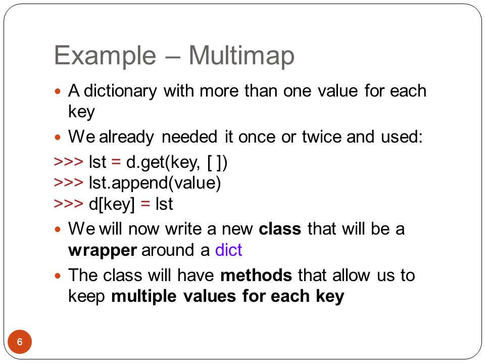 Example – Multimap A dictionary with more than one value for each key