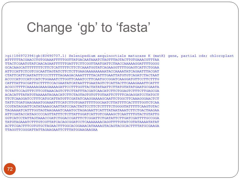 Change 'gb' to 'fasta'