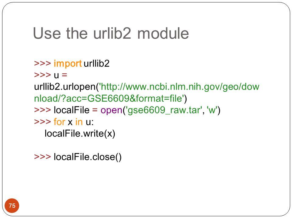 Use the urlib2 module