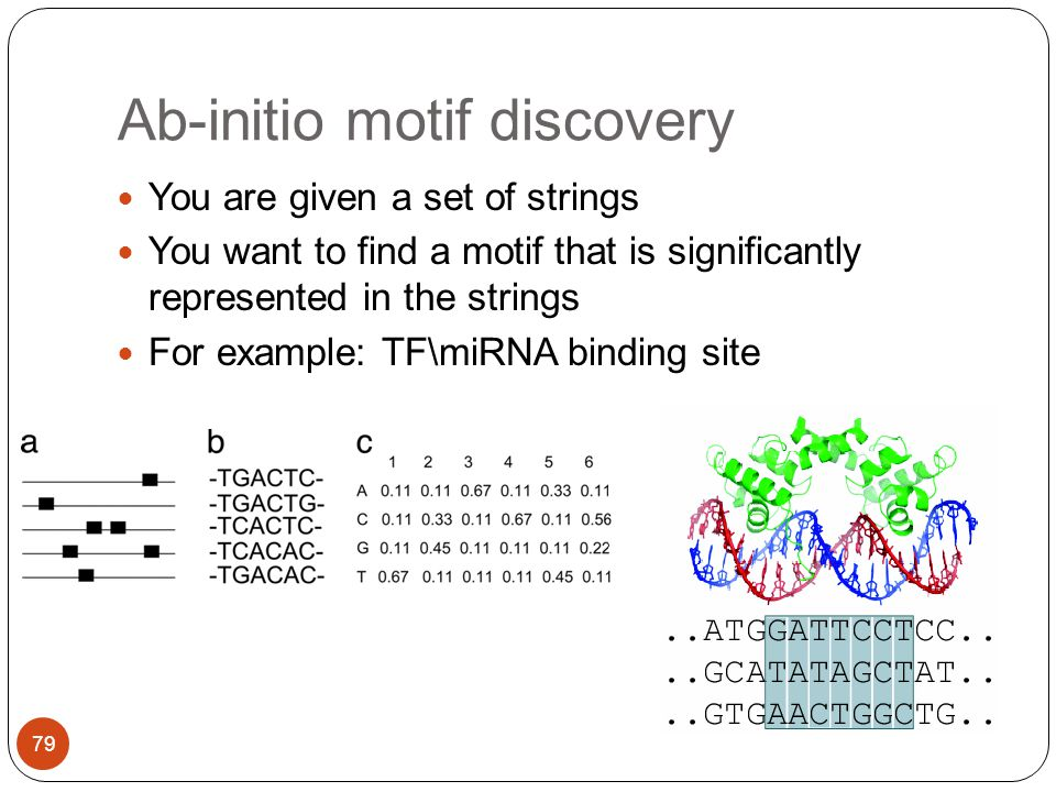 Ab-initio motif discovery