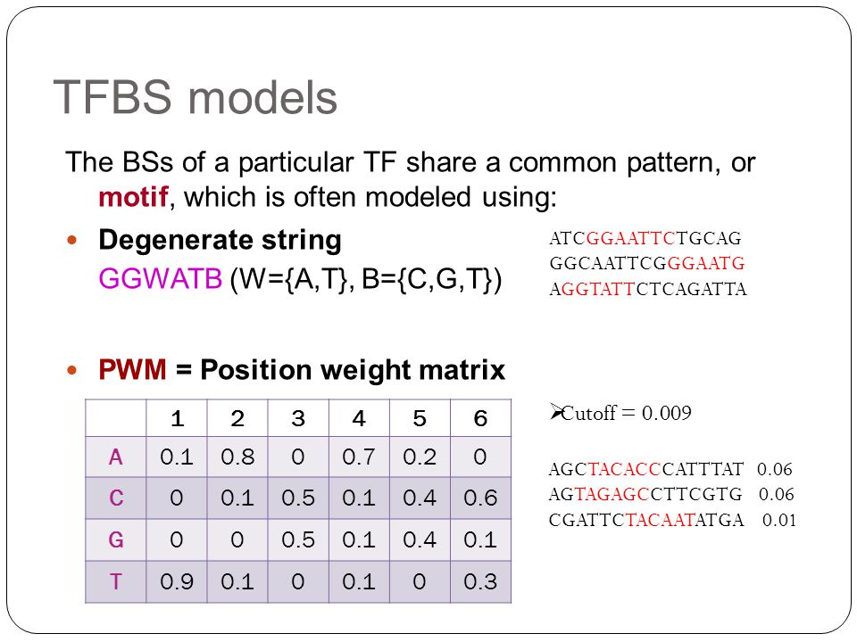 TFBS models The BSs of a particular TF share a common pattern, or motif, which is often modeled using: