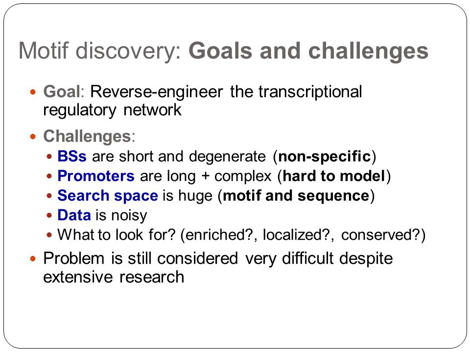 Motif discovery: Goals and challenges