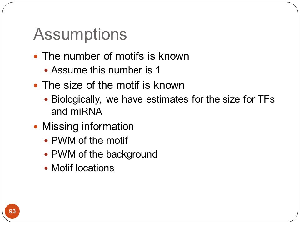 Assumptions The number of motifs is known