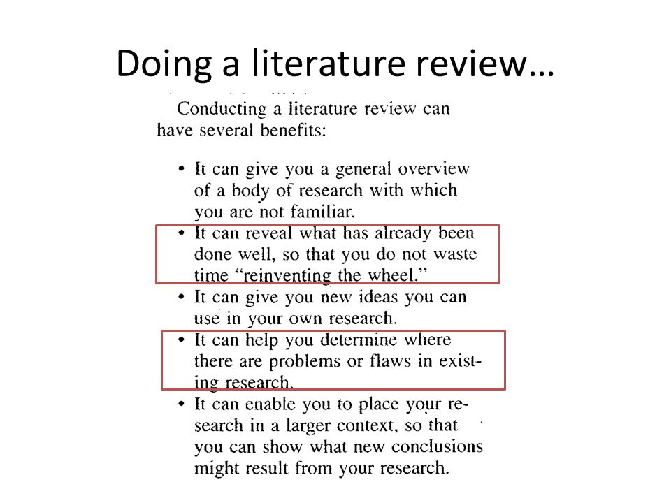 Doing a literature review…