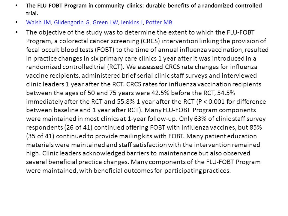 The FLU-FOBT Program in community clinics: durable benefits of a randomized controlled trial.