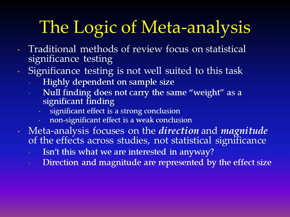 The Logic of Meta-analysis