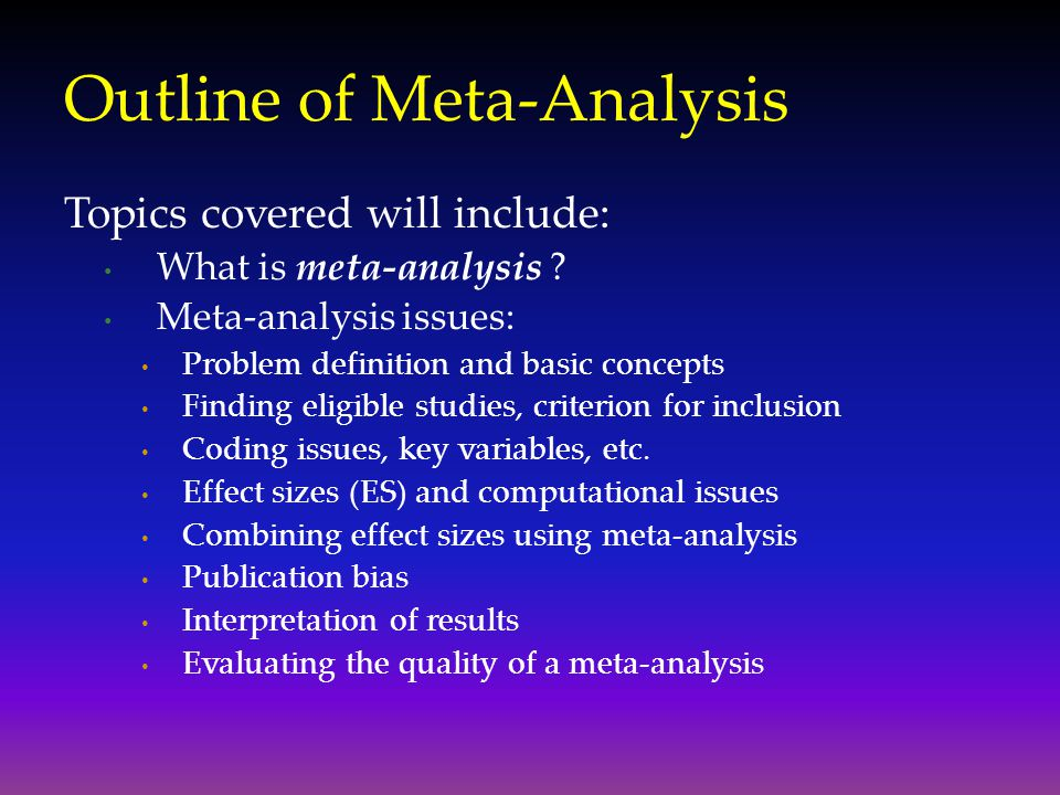 Outline of Meta-Analysis