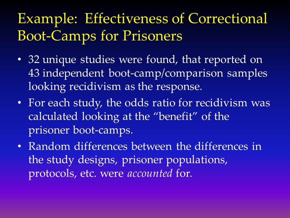 Example: Effectiveness of Correctional Boot-Camps for Prisoners