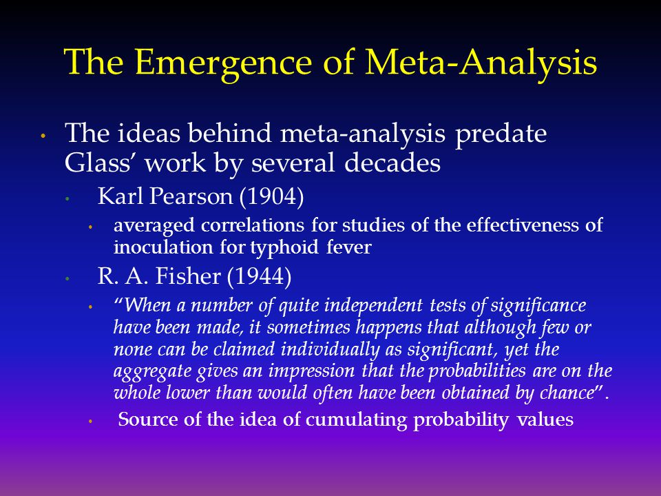 The Emergence of Meta-Analysis