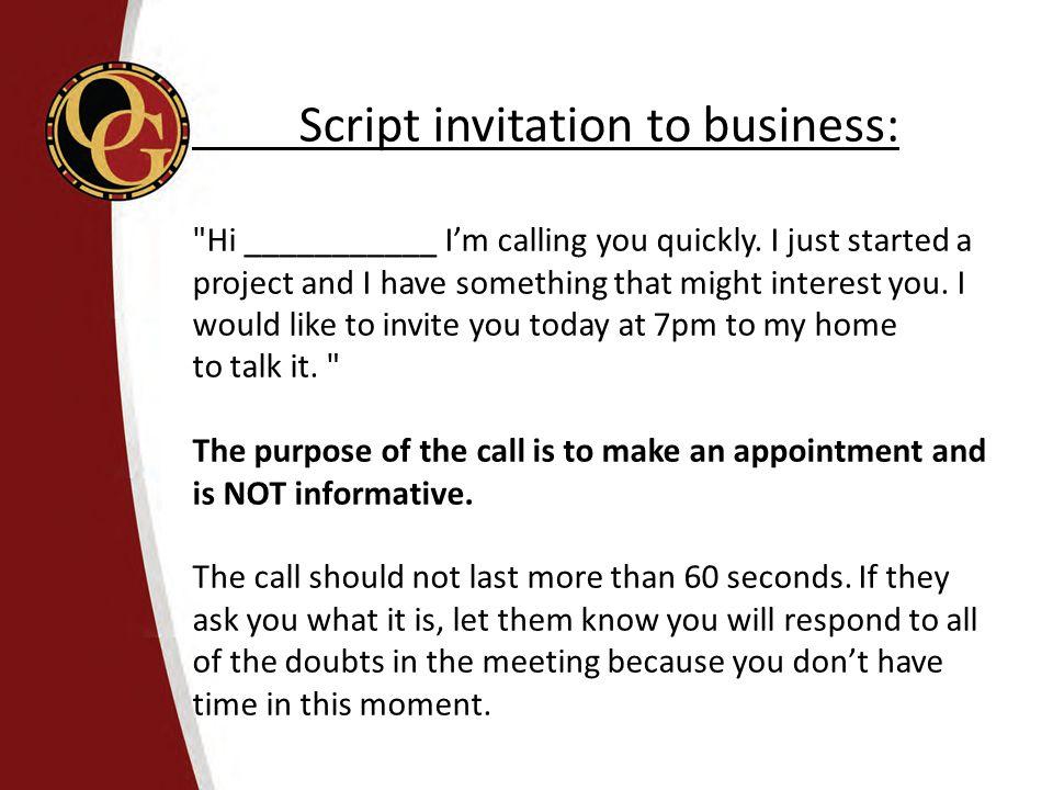 Script invitation to business: