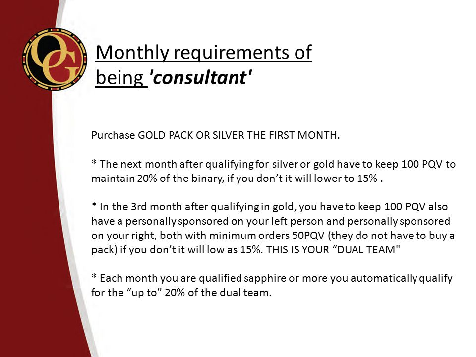 Monthly requirements of being consultant