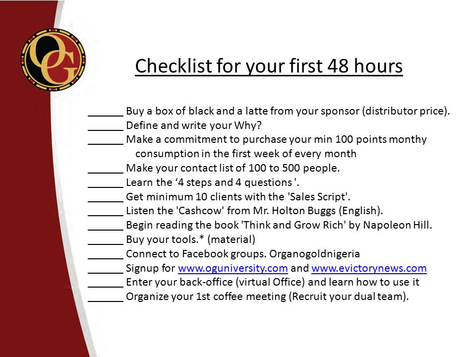 Checklist for your first 48 hours