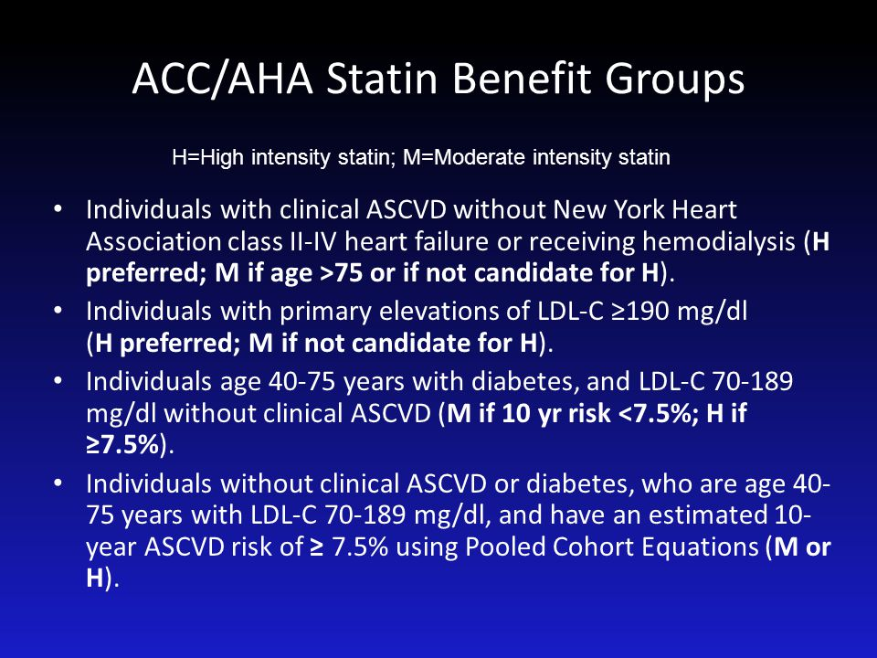 ACC/AHA Statin Benefit Groups