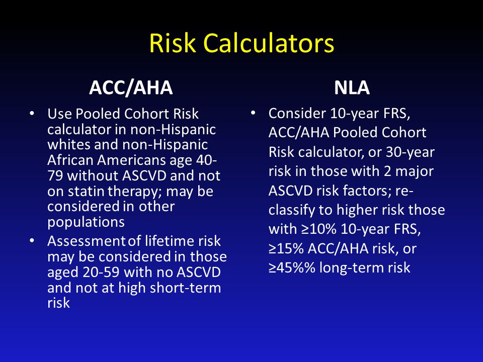 Risk Calculators ACC/AHA NLA