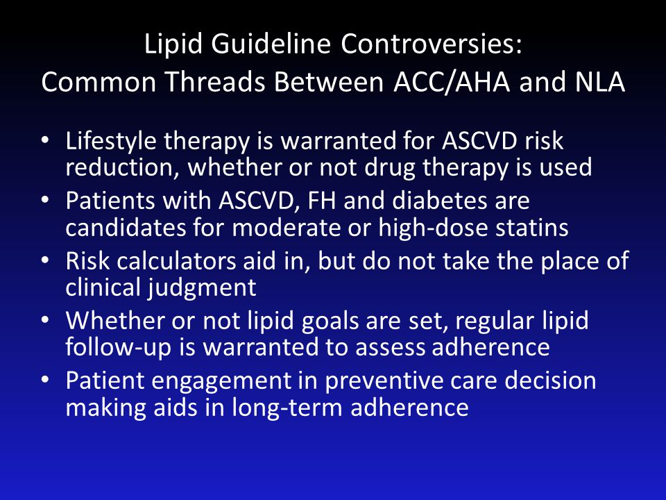 Lipid Guideline Controversies: Common Threads Between ACC/AHA and NLA