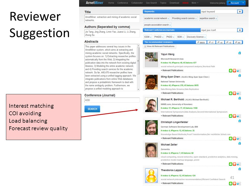 Reviewer Suggestion Interest matching COI avoiding Load balancing