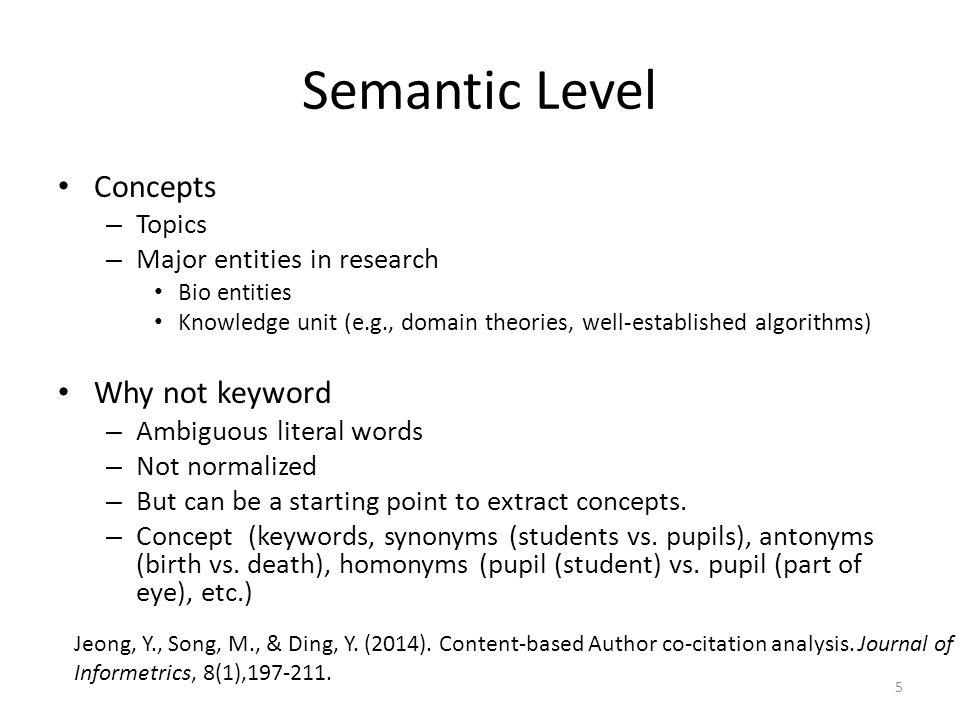 Semantic Level Concepts Why not keyword Topics