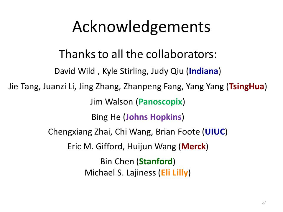 Acknowledgements Thanks to all the collaborators: