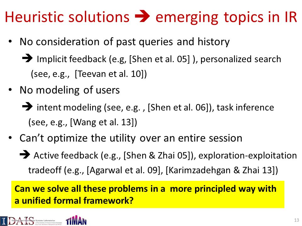 Heuristic solutions  emerging topics in IR